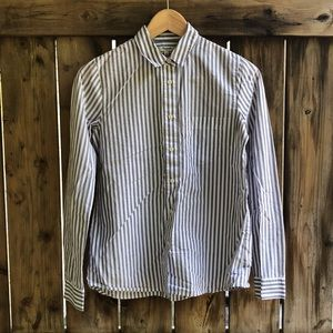 MADEWELL XS button up striped blouse gray white